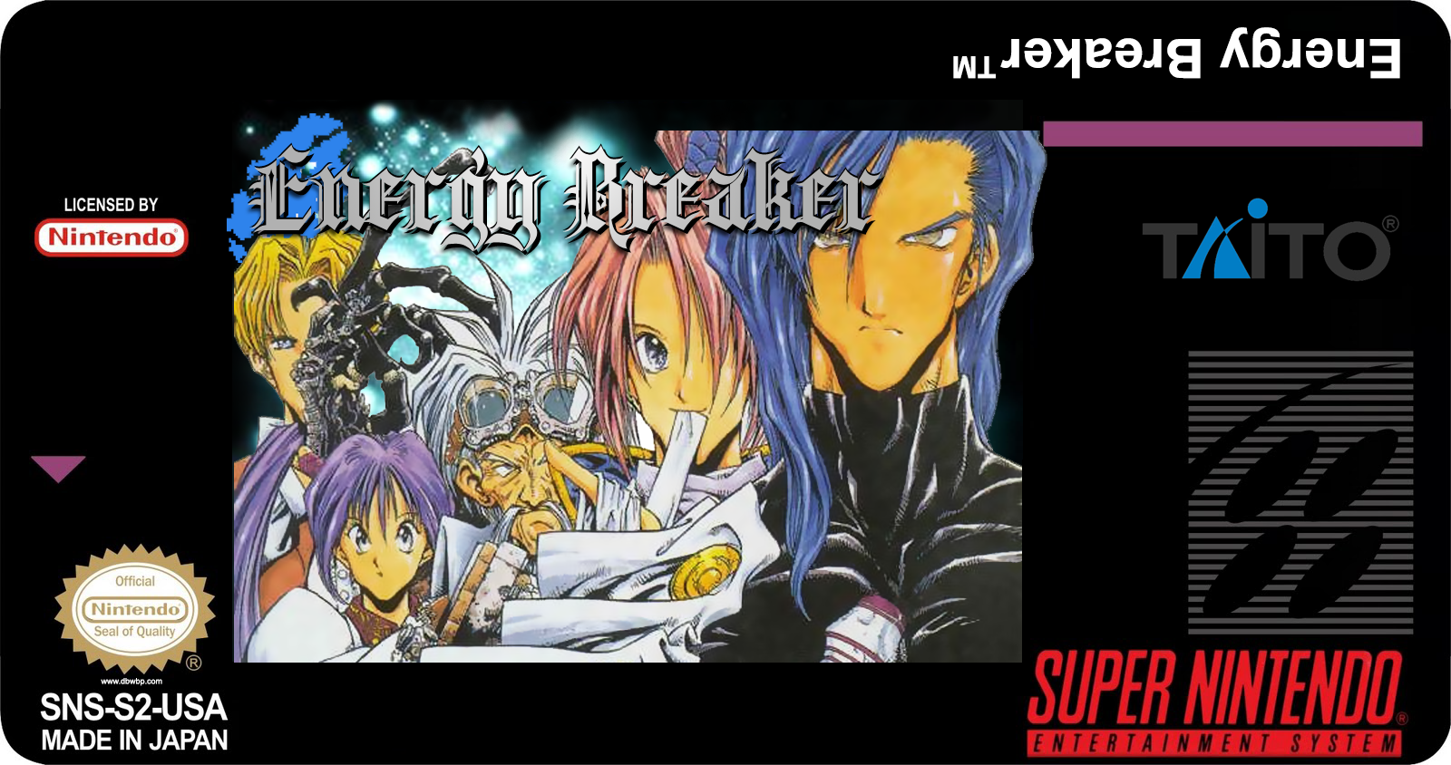 Energy Breaker (エナジーブレイカー) custom english SNES cart label